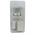 Apple iphone , iPad , iPod USB charger + Data Cable + Car Charger+earphone combo 4 in 1